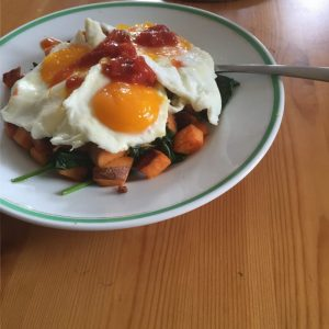 Eggs, Spinach, Sweet Potato, and Salsa by Jennie Adams